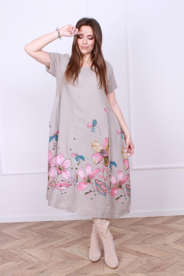 Sukienka lniana kwiaty 3