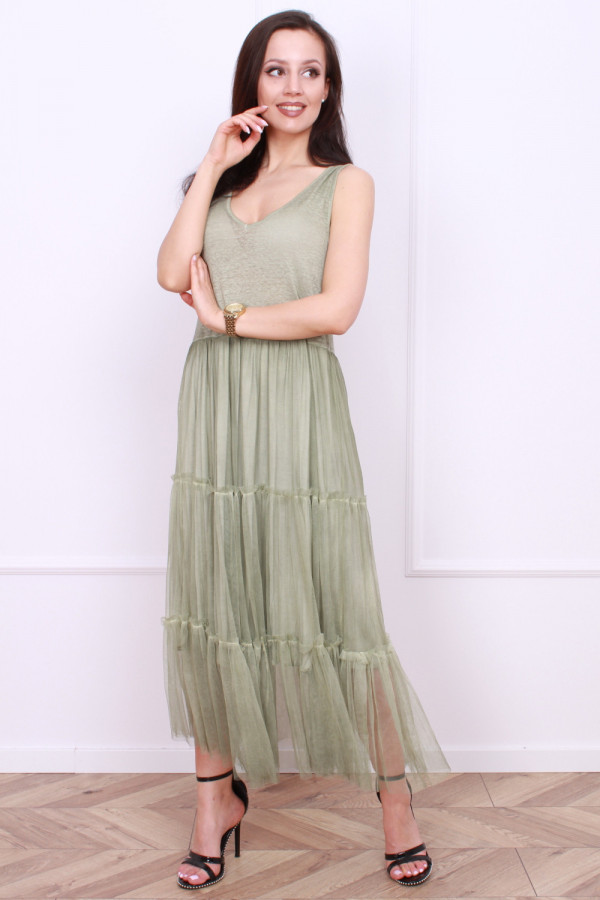 Długa sukienka z tiulem 4