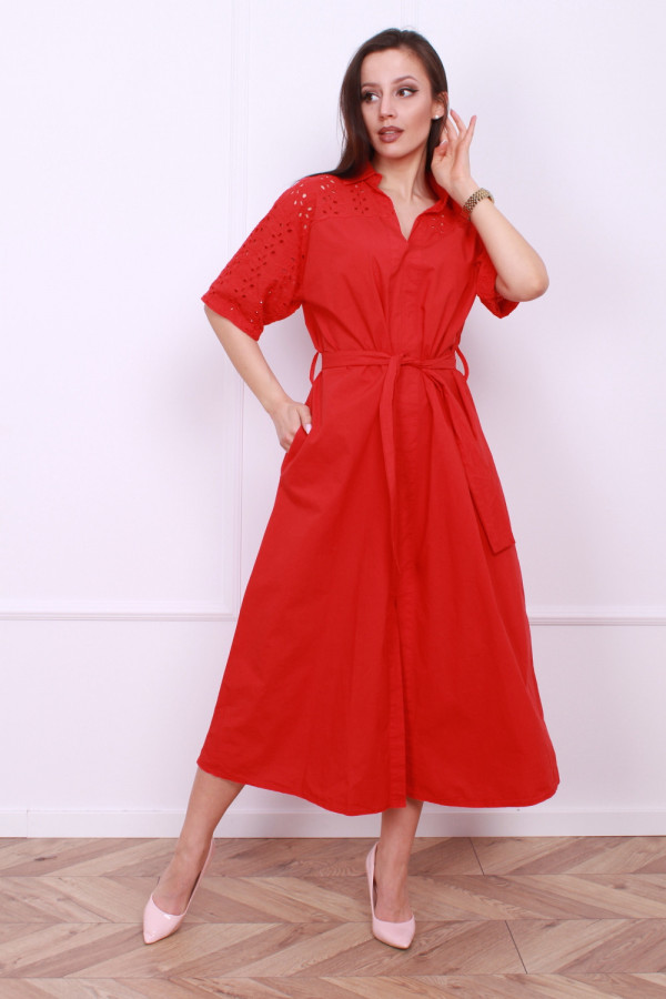 Długa sukienka z paskiem 5