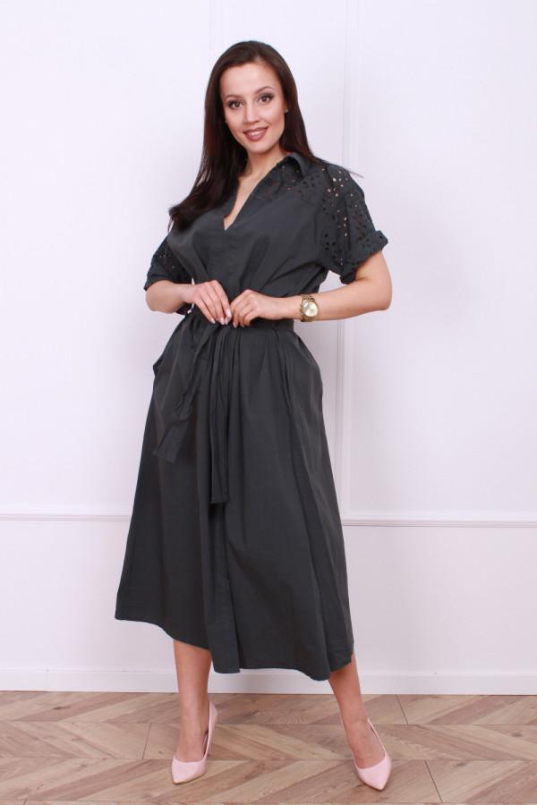 Długa sukienka z paskiem 6
