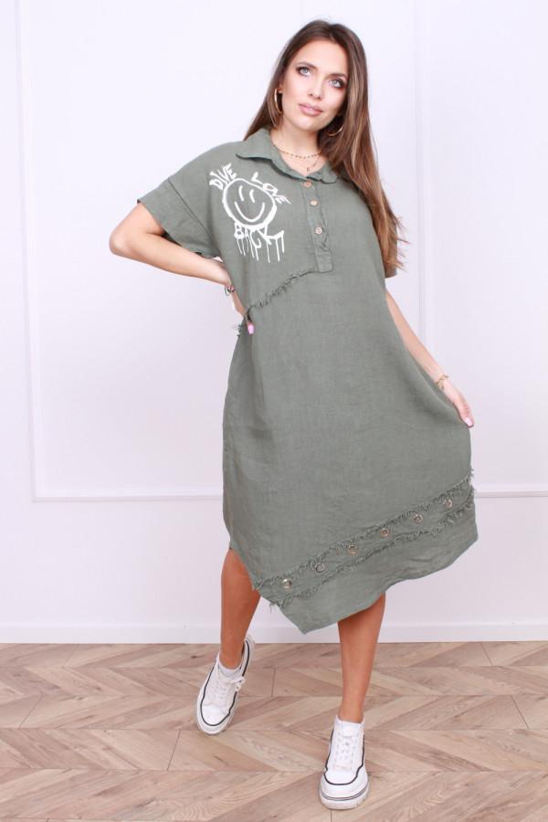 Sukienka z rozpinanym kołnierzykiem