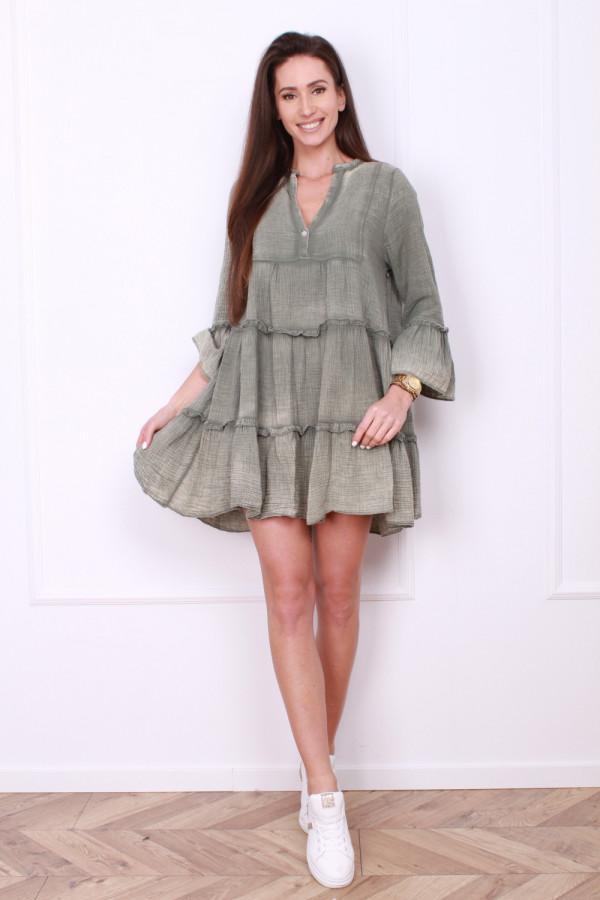 Sukienka rozszerzana z falbanami 7
