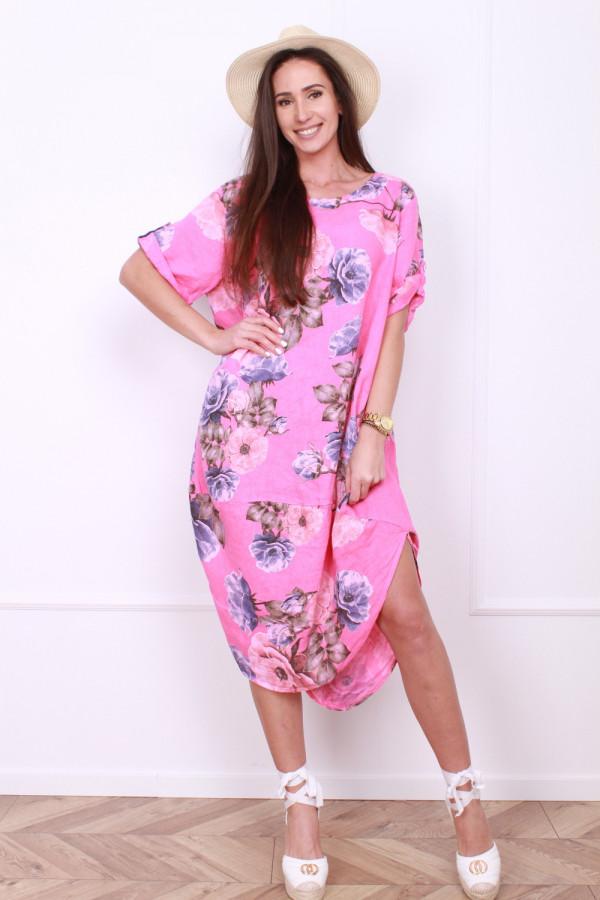 Lniana sukienka w kwiaty 3
