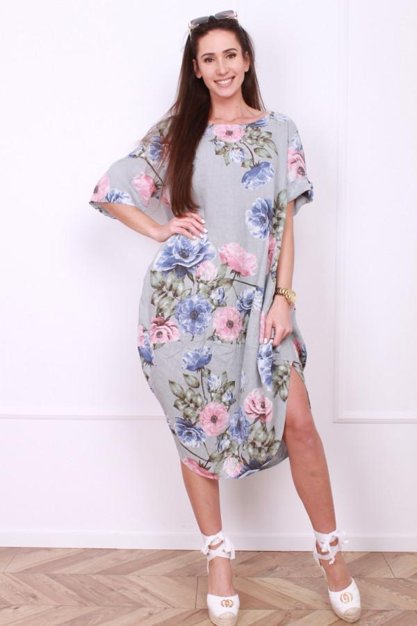 Lniana sukienka w kwiaty 4