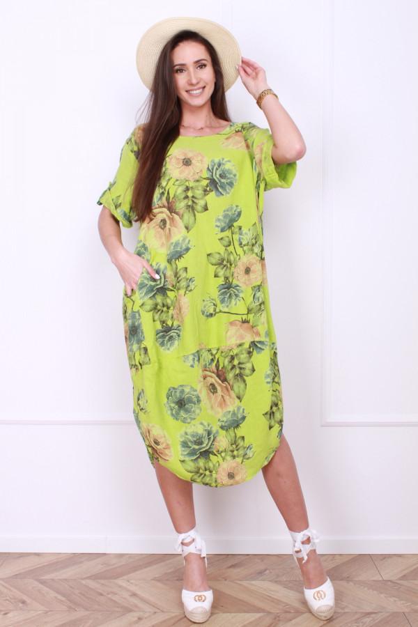 Lniana sukienka w kwiaty 6