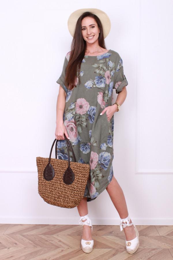 Lniana sukienka w kwiaty 5