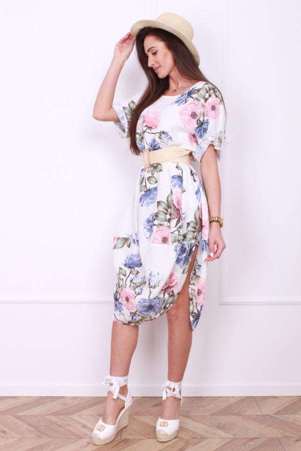 Lniana sukienka w kwiaty 8