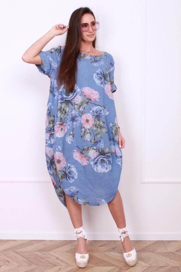 Lniana sukienka w kwiaty 7