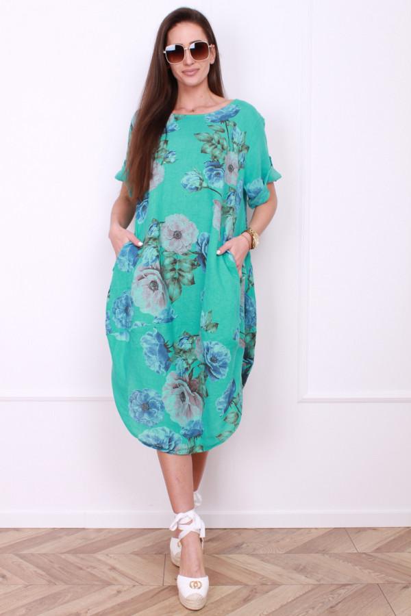 Lniana sukienka w kwiaty 9