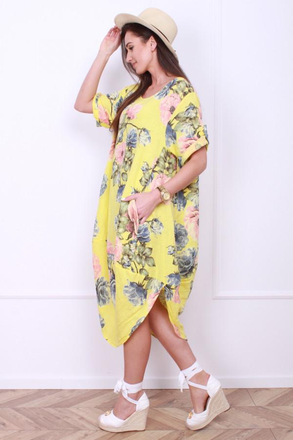 Lniana sukienka w kwiaty 1