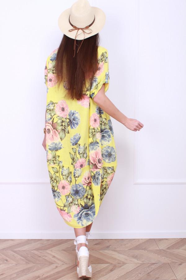 Lniana sukienka w kwiaty 2