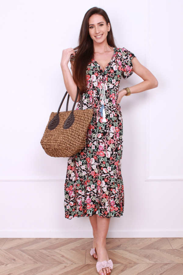 Sukienka długa w kwiaty