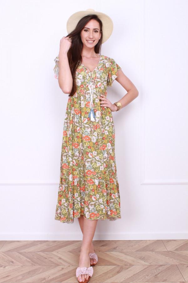 Sukienka długa w kwiaty 3