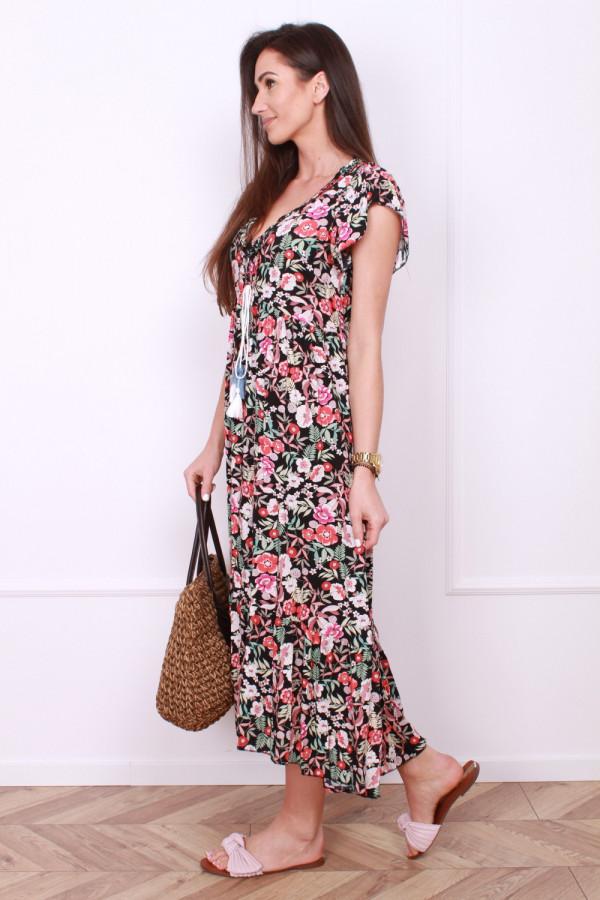 Sukienka długa w kwiaty 1