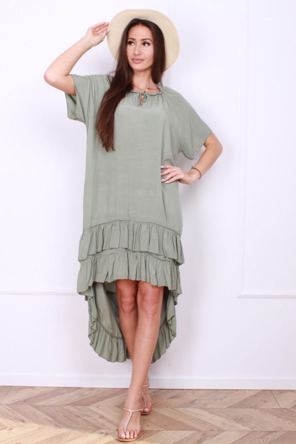 Sukienka gładka z falbankami 4