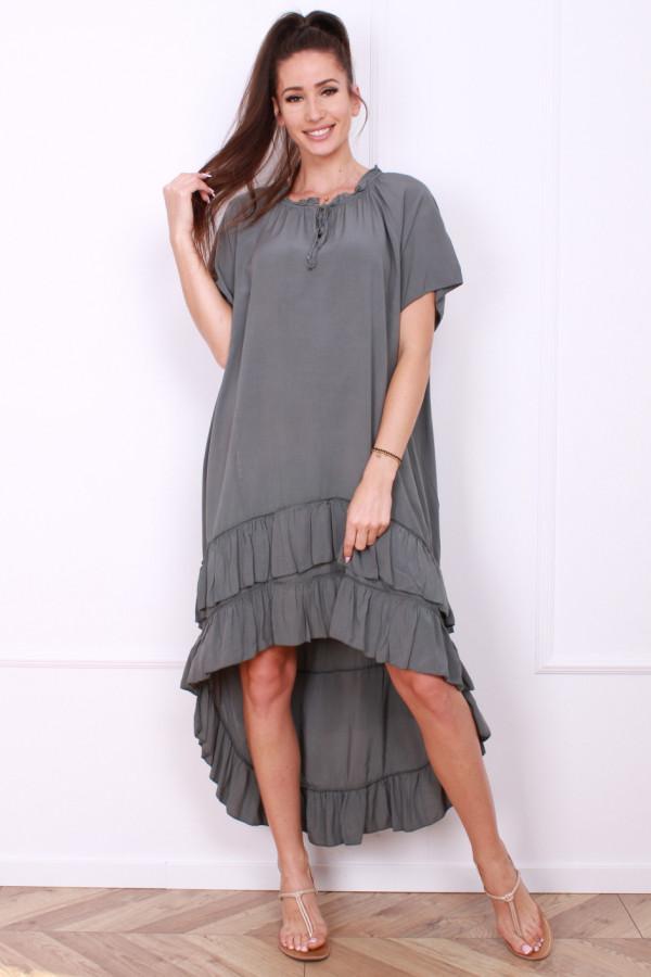 Sukienka gładka z falbankami 3