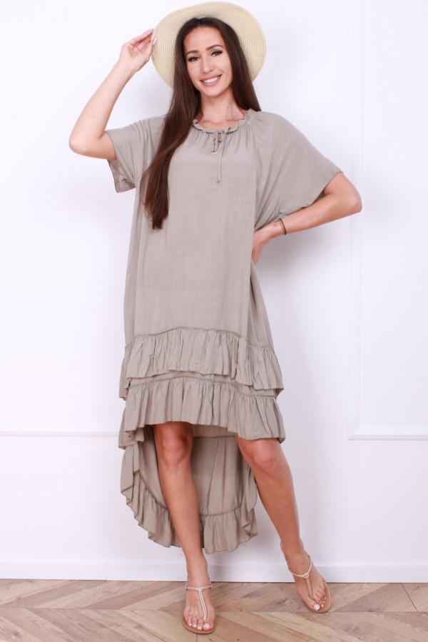 Sukienka gładka z falbankami 8