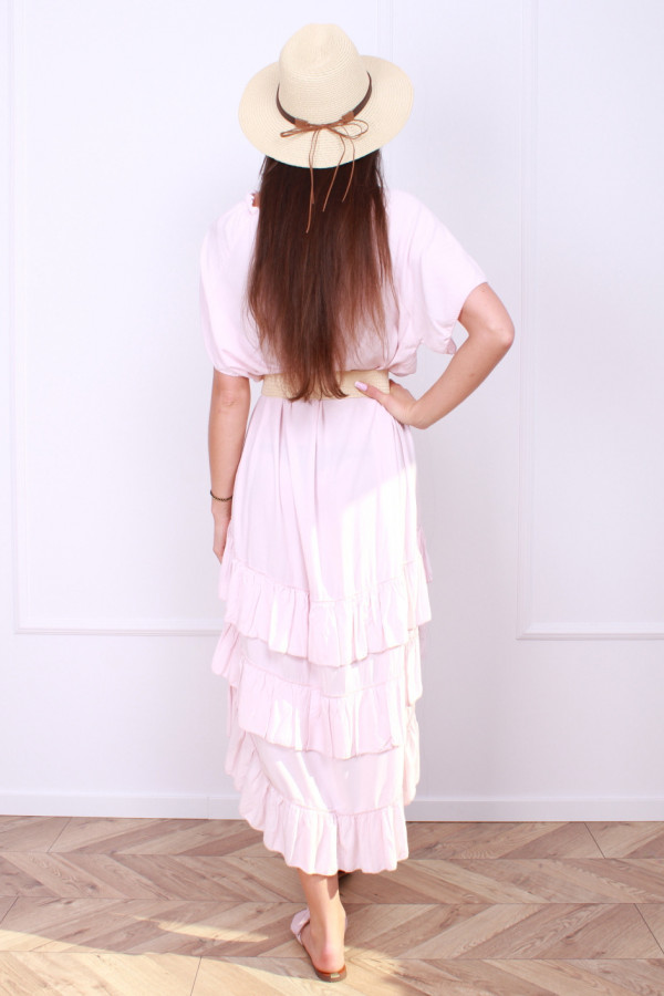 Sukienka gładka z falbankami 2