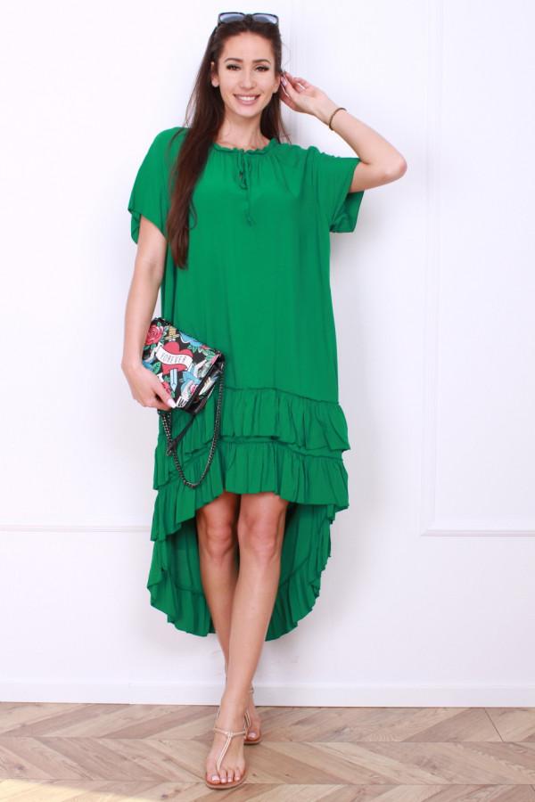 Sukienka gładka z falbankami 9