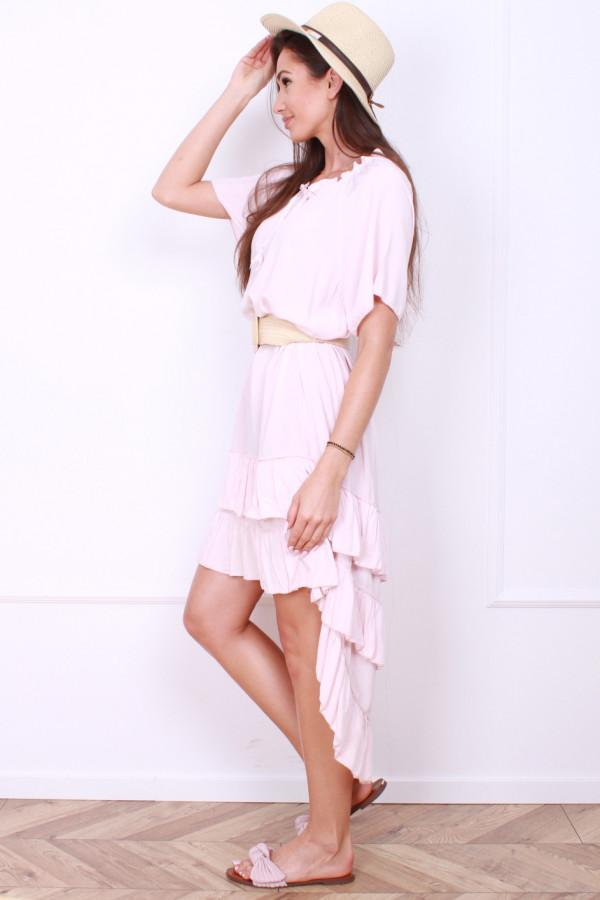 Sukienka gładka z falbankami 1