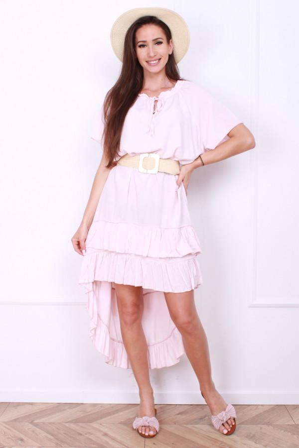 Sukienka gładka z falbankami