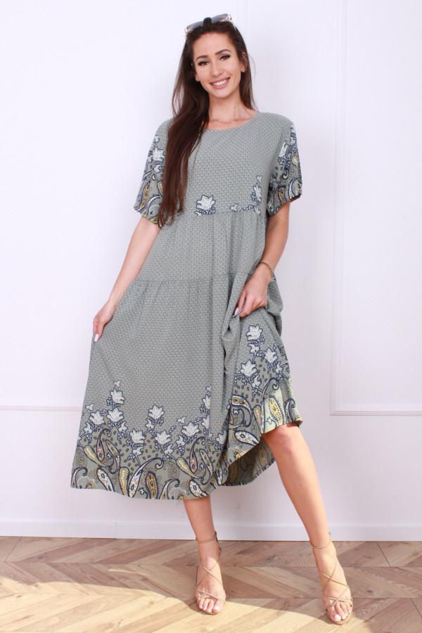 Sukienka długa z kwiatowym dołem