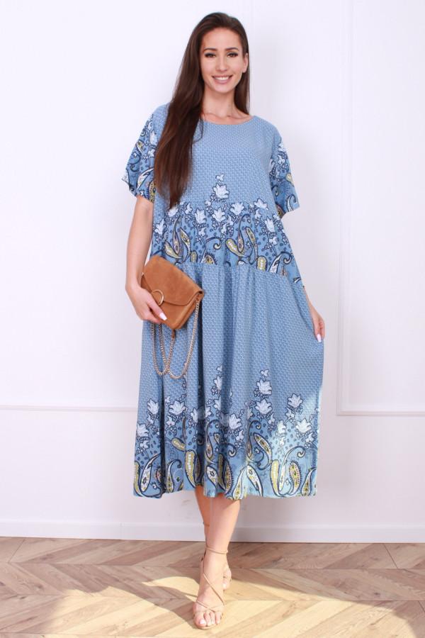 Sukienka długa z kwiatowym dołem 5