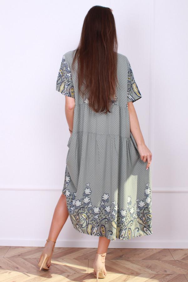 Sukienka długa z kwiatowym dołem 2