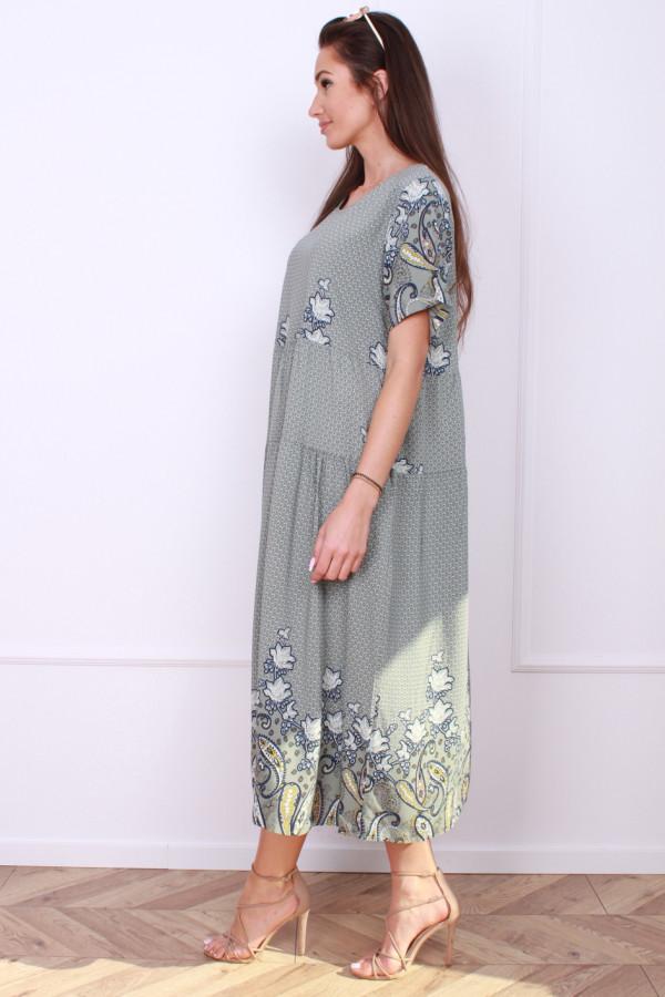 Sukienka długa z kwiatowym dołem 1