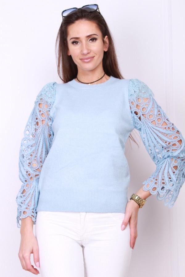 Sweter z haftowanymi rękawami 5