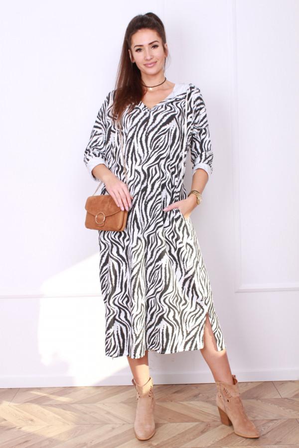 Sukienka Zebra z kapturem