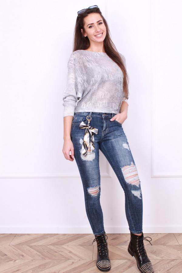 Spodnie jeansowe z brelokiem