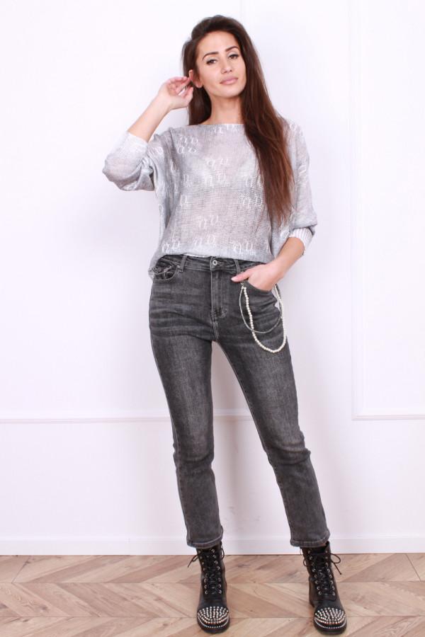 Spodnie jeansowe z perłową zawieszką