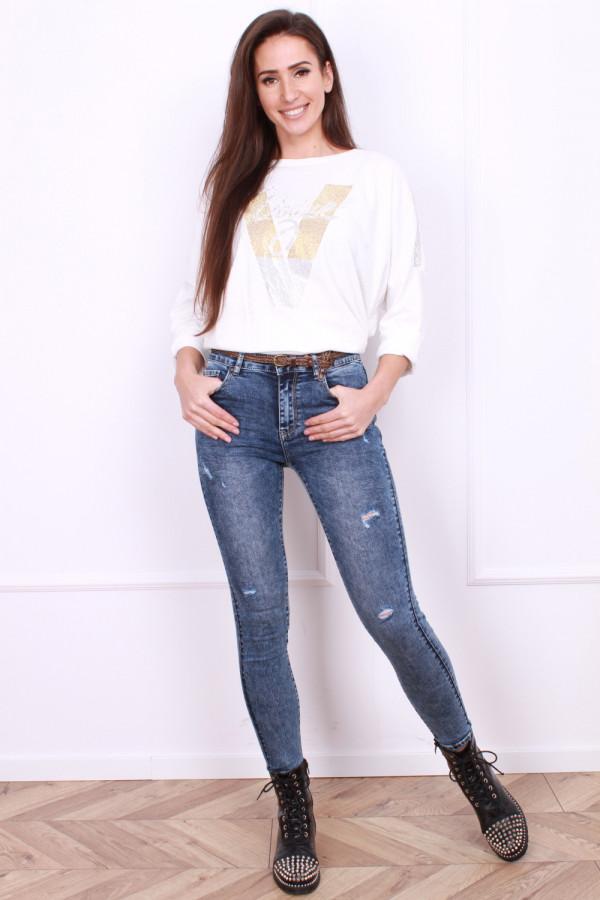 Spodnie jeansowe z plecionym paseczkiem
