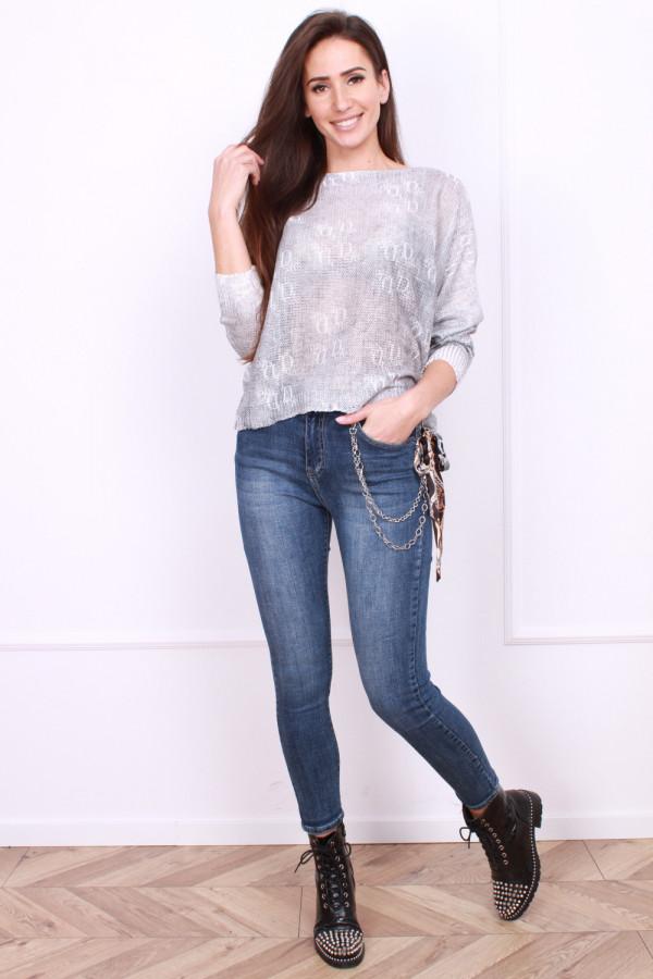 Spodnie jeansowe z ozdobnym łańcuszkiem