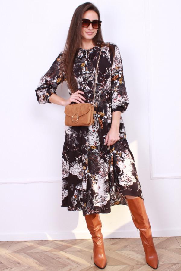 Sukienka długa z kwiatowe printy