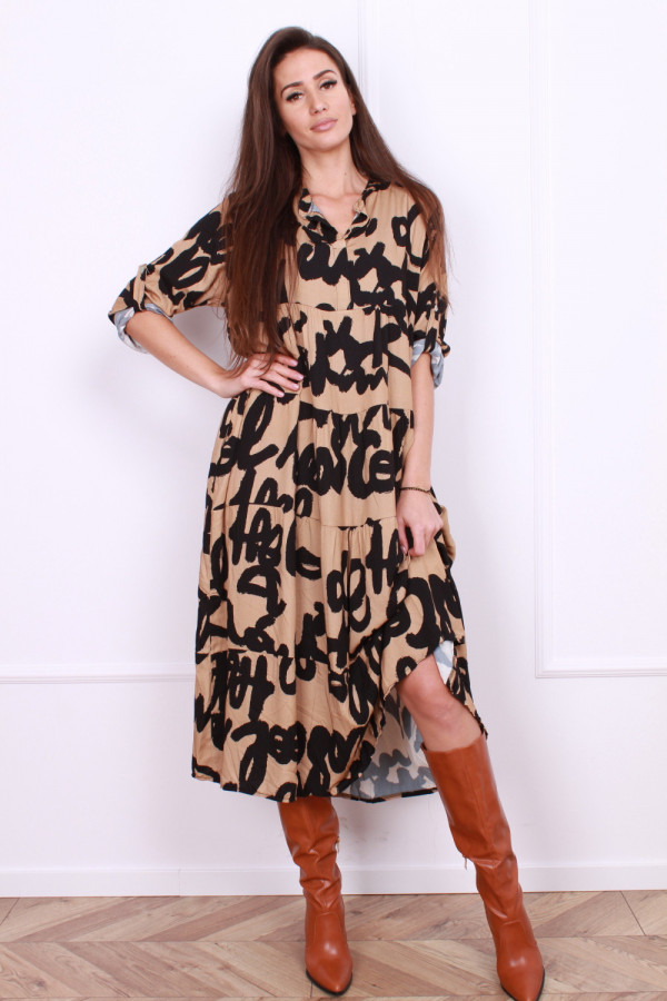 Wiskozowa sukienka z napisami