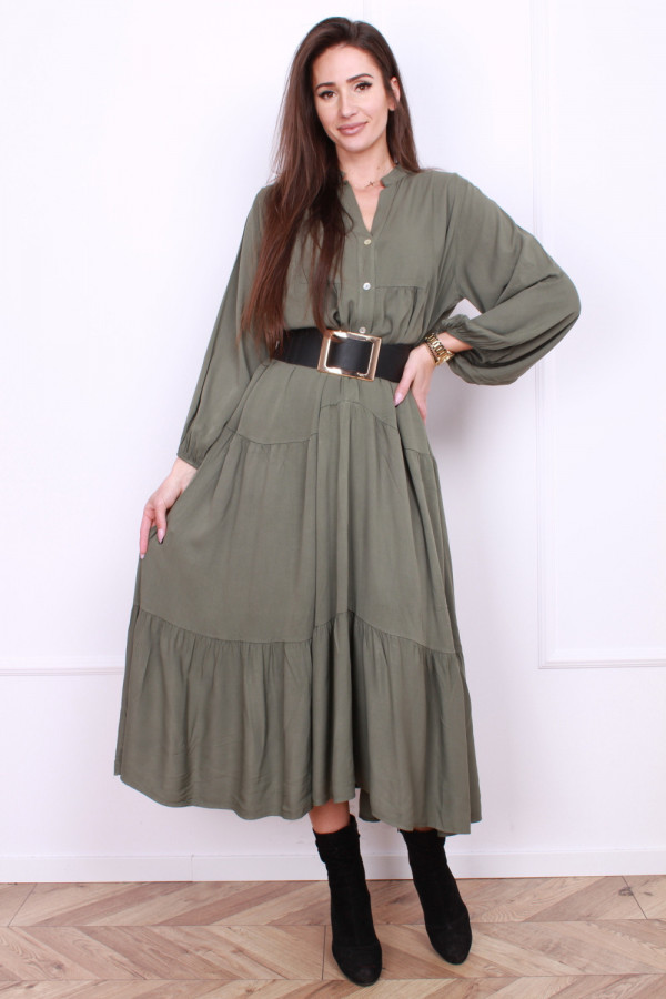 Sukienka długa z falbanami