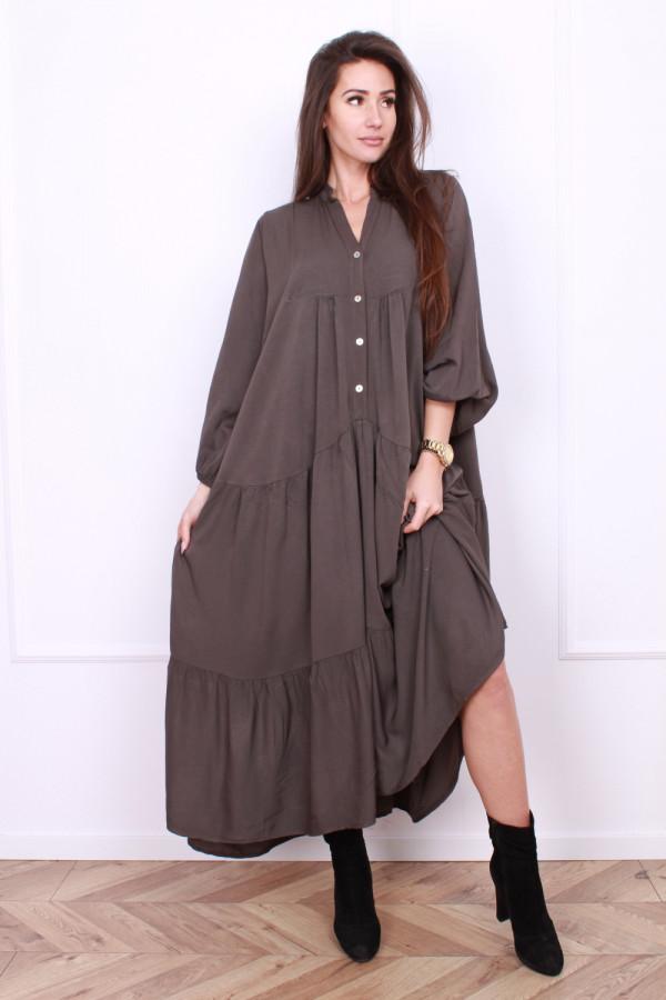 Sukienka długa z falbanami 11