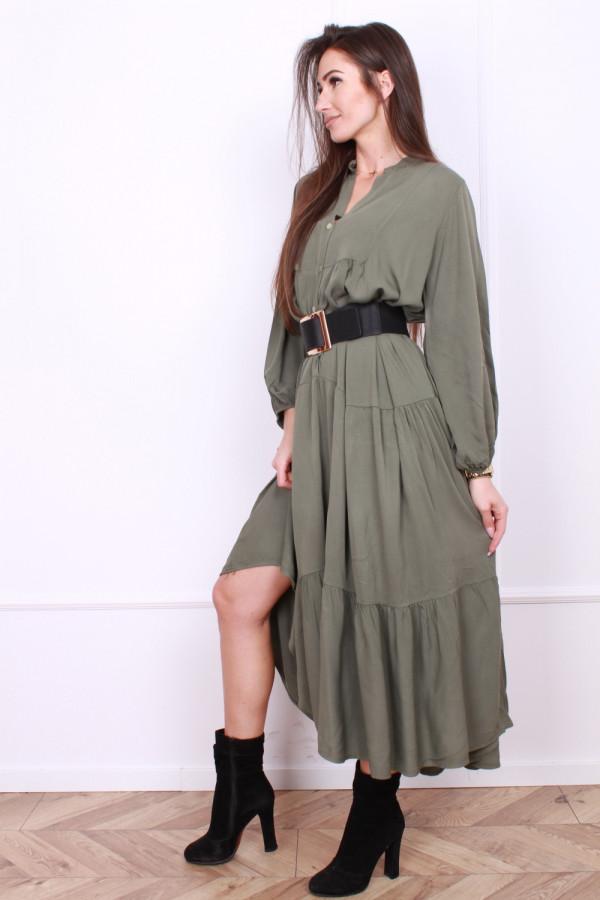 Sukienka długa z falbanami 1